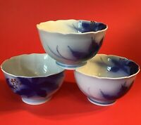 KORANSHA FUKAGAWA BLUE RICE BOWLS SET OF 3 VINTAGE JAPANESE LEAVES BERRIES