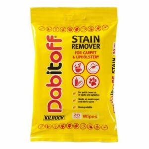 Kilrock Dabitoff Stain Remover Wipes For Carpet and Upholstery Pack of 20 Wipes