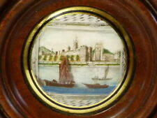 1825 Hand Painted Miniature Boats on River Scene in Round Wooden Frame Diorama