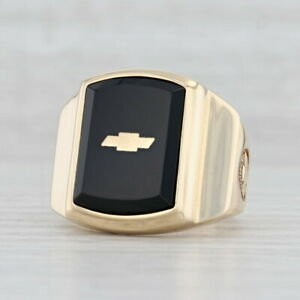 Onyx Chevrolet Car Company Logo Ring 10k Yellow Gold Size 10.5 Signet