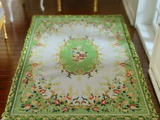 Miniature Beautiful Green Victorian Roses Floral Dollhouse 1/12 Scale Lace Rug