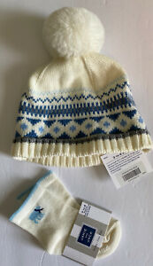 New JANIE and JACK 3-6 months HAT and SOCKS, Ivory, Gray and Blue, COZY, NWT