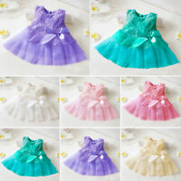 Newborn Baby Girl Clothes Princess Birthday Party Bowknot Lace Flower Tutu Dress