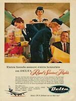 1959 Delta Airlines Stewardess Serving Passengers Extra Luxuries Photo Print Ad