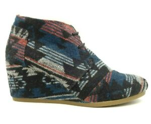 Toms Multi-Color Tribal Print Lace Up Wedge Heel Ankle Boots Shoes Women's 11