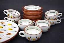 Vintage Stangl Amber Glo Set of 7 Coffee Cups by Kay Hackett c1955-62