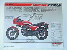 Kawasaki moto Z750 GP GPZ  GPZ750  pubblicita brochure depliant motorcycles