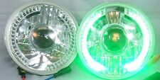 """97-16 Jeep Wrangler  7"""" LED Halo GREEN Projector Round Chrome Clear Headlights"""