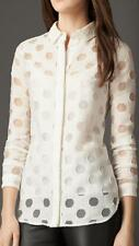 $750 NWT BURBERRY London Sheer-Dot Double Placket Shirt Blouse & Camicole 14USA
