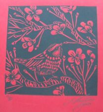 "LYNN KEATING BLACK INK LINOCUT RED PAPER ""SMALL TIT BIRD"" 2015 LTD ED"