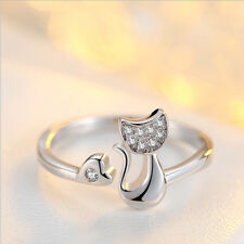 925 Sterling Silver Zircon Heart and Charming Cat Adjustable Ring - Cat Lover