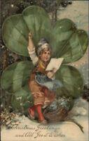 Christmas - Child & Giant 4 Leaf Clover PFB c1910 Postcard #1