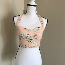NWT Dazzlin Halter Bustier Top Peach White Floral Ties At Neck Size S