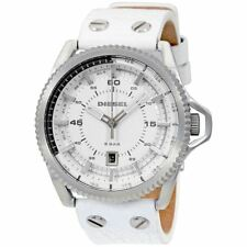 DIESEL ROLLCAGE WHITE DIAL LEATHER MEN'S WATCH