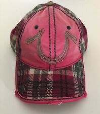 True Religion Hat Hot Pink Plaid Horse Shoe Distressed Leather Strap Back Women