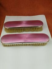 More details for  pair of antique sterling silver hallmarked pink deco guilloche brushes,1926