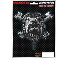 Bull Dog Car Sticker - Tough - Pitbull - Dog - Chrome Style -Auto Decal