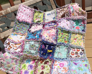 RAG QUILT I SPY throw quilt Girls 25 different prints handmade in USA  #88g