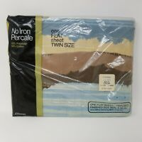 "Vintage JCPenney No Iron Percale Flat Twin Sheet 66"" x 96"" Mountain Scene NWT"