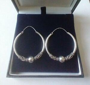 Very large and beautiful 925 sterling silver hoop earrings