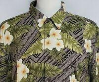 Reyn Spooner Mens sz 2XL Gray Brown Green Floral Rayon Button Hawaiian Shirt