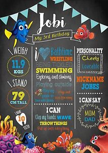 1st 2nd Birthday Milestone Chalkboard Birthday Print Finding Dory Nemo A4
