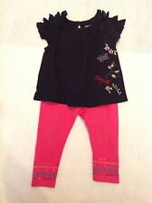 #1.Girls Outfit Baby Gap embroidered Top/ Leggings Debenhams Suit 6-12months