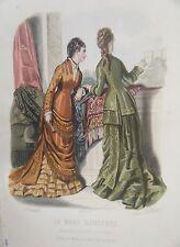 GRAVURE EN COULEUR 19ème MODE ILLUSTREE 1877 N° 19 TOILETTES MADAME FLADRY