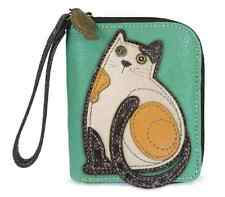Charming Chala Cat Kitten Purse Zip Around Wallet Credit Cards Coins Wristlet