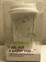 """I Am Not a Paper Cup"" Thermal Porcelain Cup with Silicone Lid (DESIGN:PARIS)"