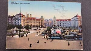 antike Postkarte/Ansichtskarte, München Karlstor-Rondell, 1913,Marke Bayern 5 Pf