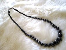 """Magnetic / hematite 17"""" necklace –  black pearl beads 5mm ~ 10mm, FREE SHIPPING!"""