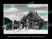 OLD LARGE HISTORIC PHOTO OF SLINGER WISCONSIN, THE KLETTI MOBIL GAS STATION 1930