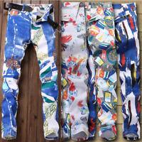 Mens Design paint denim Jeans Trousers pants Hole Skinny Straight Denim jeans