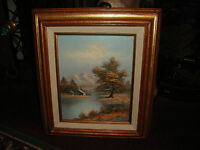 Superb Oil Painting On Board-Signed Tanele ?-Mountains House Trees Water Barn