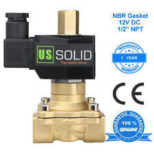 """U. S. Solid 1/2"""" Brass Electric Solenoid Valve 12V DC Normally Open NBR"""