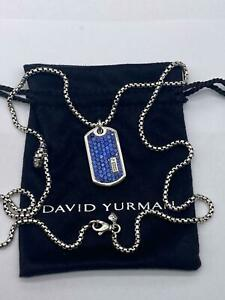 David Yurman Sterling Silver Pave Tag with Blue Sapphire