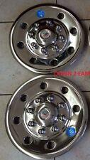 """(GQST60)(2) Phoenix USA 16"""" Stainless Trailer Wheel Hub Caps Rim Covers SHARP!!"""