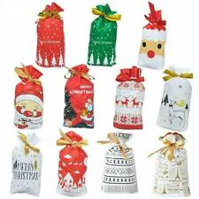 10Pcs Christmas Plastic Gift Bags Cookies Candy Packaging New Year Decoration