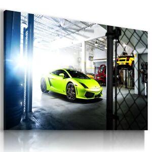 MERCEDES GTR GREEN Sports Car Wall Art Canvas Picture AU665 UNFRAMED-ROLLED