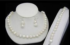 bracelets earrings jewelry set Aa Natural 8-9mm White natural pearl necklaces