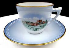 "B&G BING GRONDAHL #3553 CASTLES & MONUMENT PIERCED GOLD RIMS 2 1/2"" CUP & SAUCE"