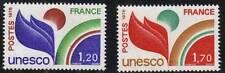 """FRANKREICH BRIEFMARKE DIENST Nr. 56/57 """" UNESCO , 2 WERTE """" NEU xx TTB"""