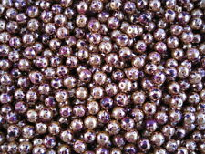 50 pieces, 'Gold and Purple' glass beads round 8mm