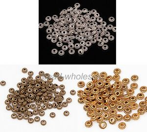 Wholesale 100Pcs Tibetan Silver Wheel Gear Spacer Beads Findings 6mm