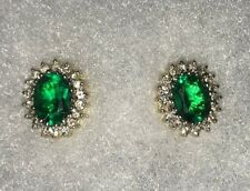 14ct/14k Yellow & White Gold Emerald Stud Earrings