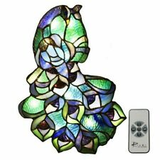Tiffany Style River of Goods Stained Glass Peacock Wall Sculpture Panel LED R/C