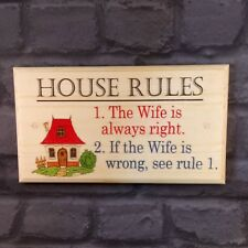 Large House Rules Plaque / Sign - Wife Is Always Right Family Home Funny Kitchen