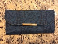Travelon RFID Blocking Womens Trifold Wallet Blue & Black Nylon Clutch NWOT