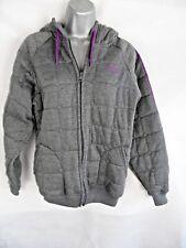 Lonsdale Grey Padded Hooded Coat Jacket Size UK12 Cotton Blend Pockets Zip